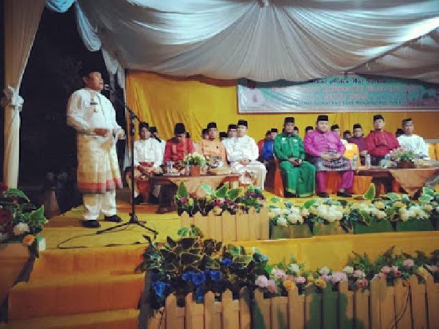 Bupati Rohul Melepas Pawai Takbir, Shalat Idul Fitri Serta Gelar Open House